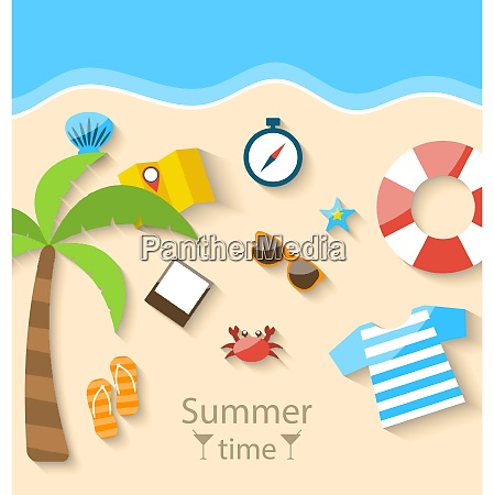 illustration summer time background with flat