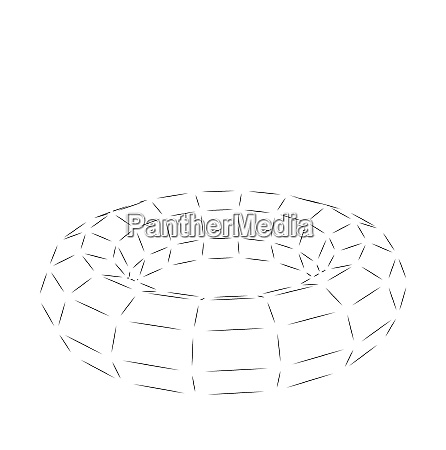 wireframe polygonal element 3d torus isolated