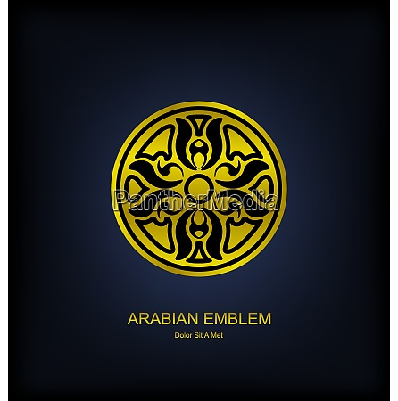 illustration golden emblem with arabian traditional