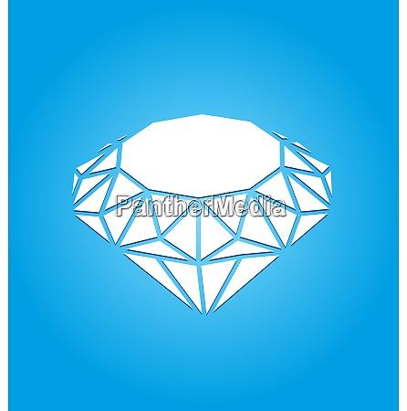 flat icon of diamond on blue