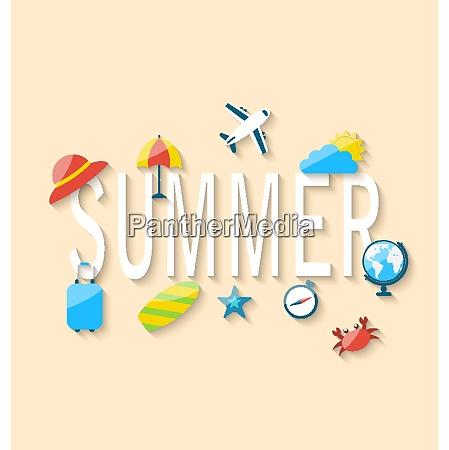 illustration travel summer background with tourism