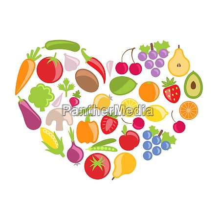 illustration set colorful vegetables and fruits