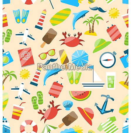 illustration travel seamless pattern with tourism