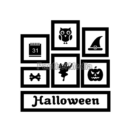 illustration frames with halloween traditional symbols