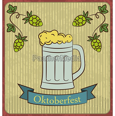 oktoberfest banner glass mug beer with