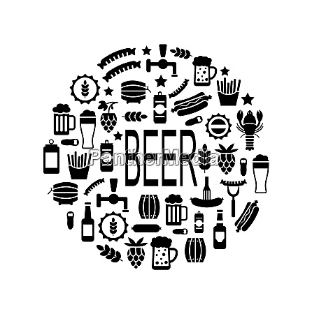 illustration black icons of beer and