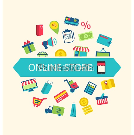 illustration e commerce shopping symbols online
