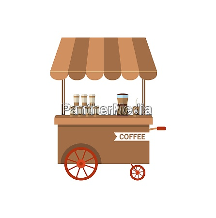 flat icon cart of coffee isolated