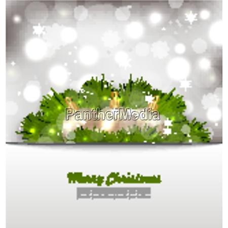 illustration merry christmas card with fir