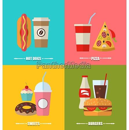 illustration set fast food and drink