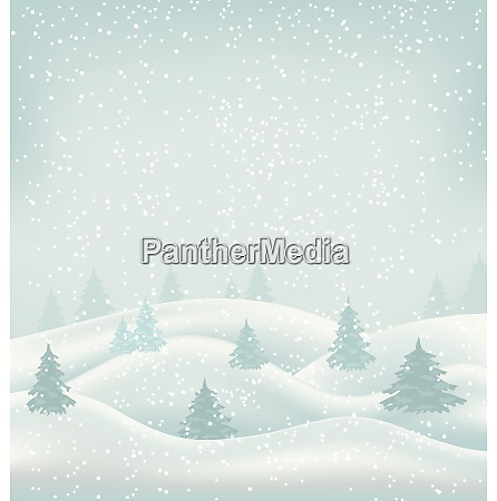 illustration christmas winter landscape snowfall and