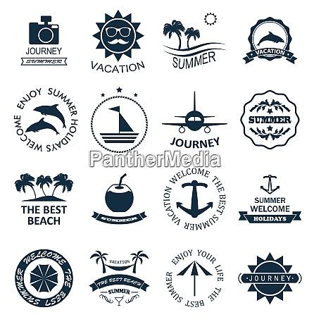 illustration collection summer labels templates badges