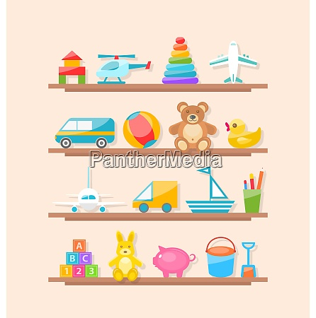 set of colorful children toys on