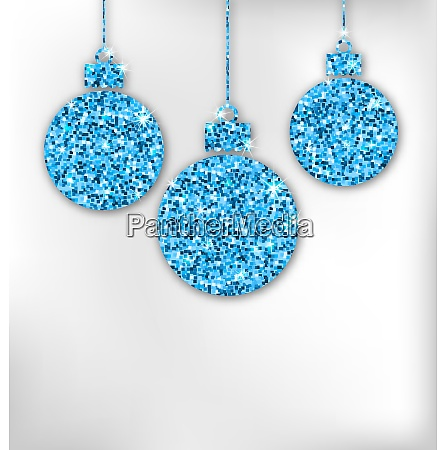 christmas balls with sparkle surface illustration