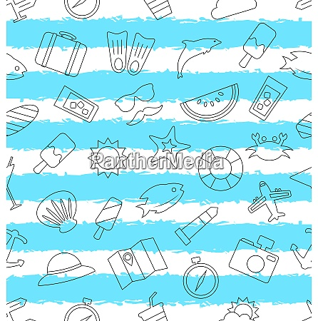 seamless pattern with hand drawn travel