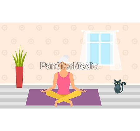 adult woman meditating in pose lotus