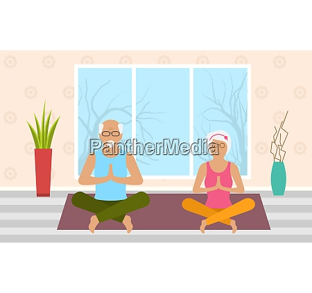 adult woman and man meditating in