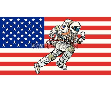 american astronaut patriot runs forward usa