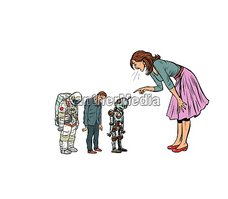 the woman scolds businessman spaceman and