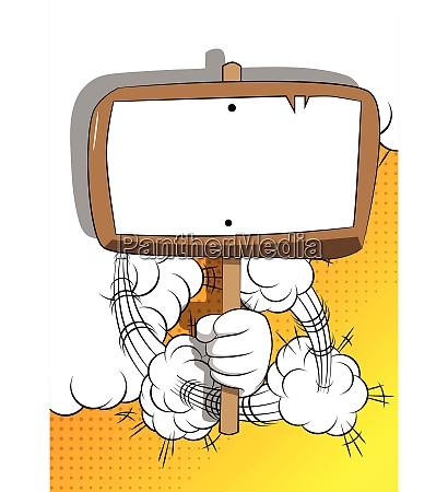 vector cartoon hand holding blank sign