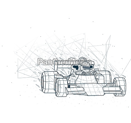 abstract formula one low poly wireframe