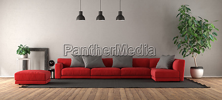 modern living room with red sofa