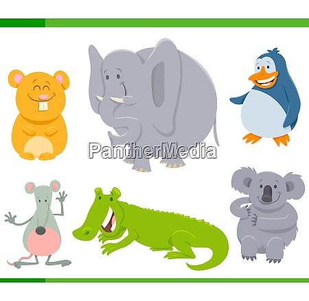 happy animal characters cartoon set