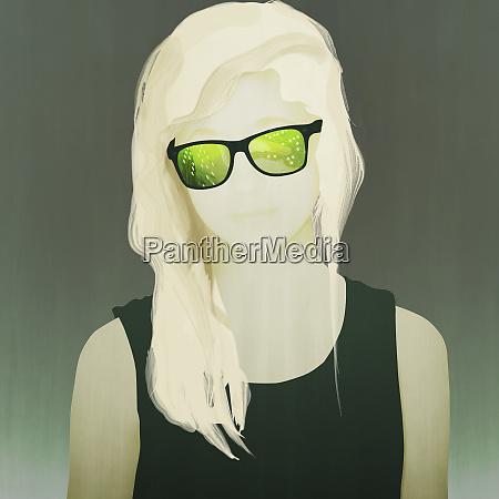 cool teenager wearing circuit board sunglasses
