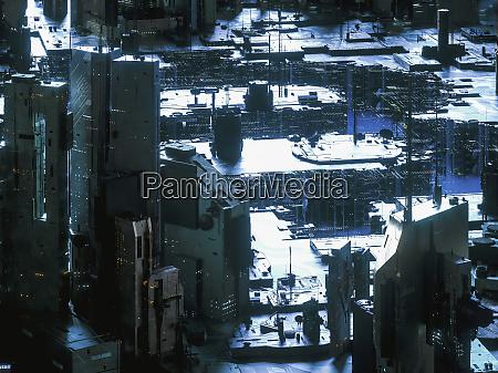 futuristic technology cityscape