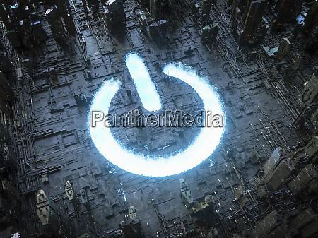 blue sky power button symbol shining