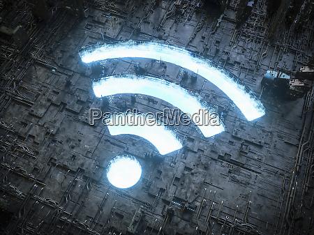 blue sky wifi symbol shining in