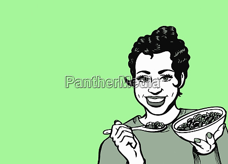 cheerful woman eating healthy cereal