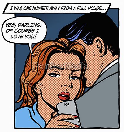 woman embracing boyfriend while gambling on