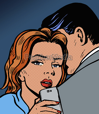 woman checking phone while embracing boyfriend