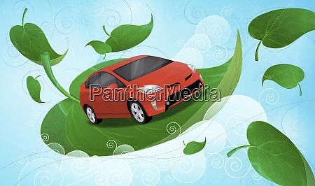 car floating among green leaves