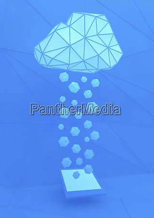 geometric clouds above digital tablet