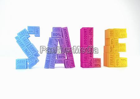 blocks advertising discounts forming word sale