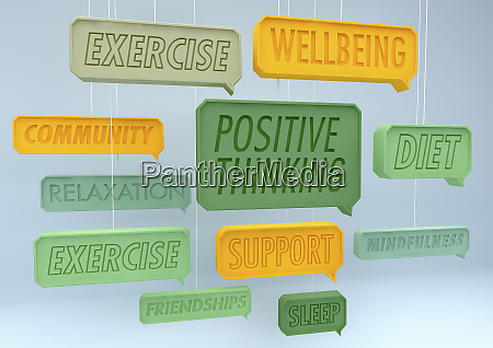 positive healthy lifestyle speech bubbles hanging