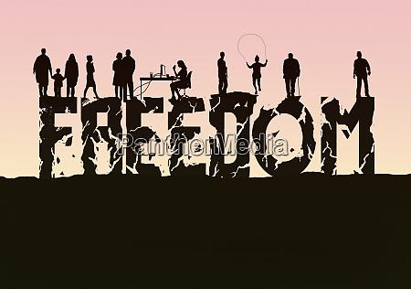 the word freedom crumbling beneath people