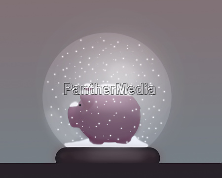 piggy bank in snow globe