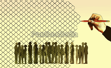 hand drawing wire fence trapping crowd