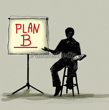 businessman presenting plan b on flipchart