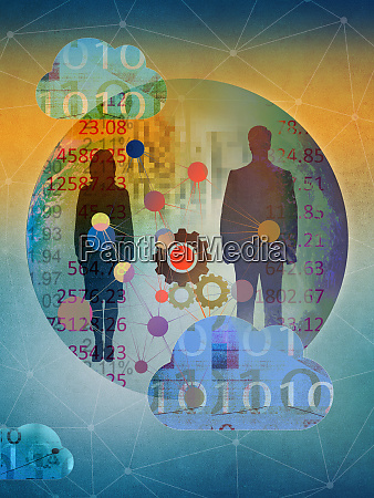 cloud computing connecting businessman and businesswoman