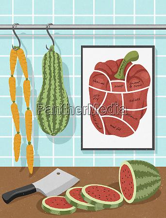 vegetarian food hanging like butchers shop