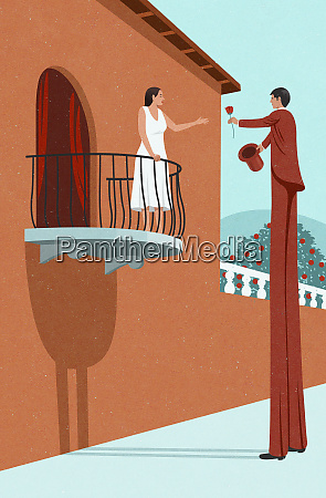 man on stilts to reach girlfriend