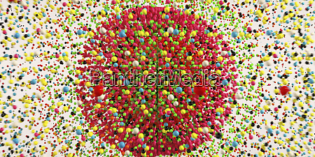 lots of multi coloured balls exploding