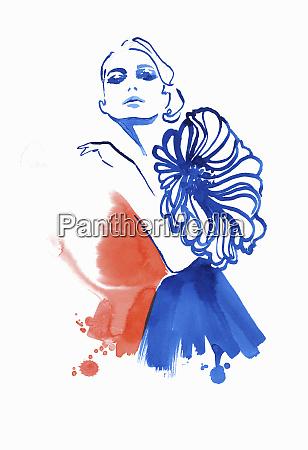 fashion illustration of model wearing dress