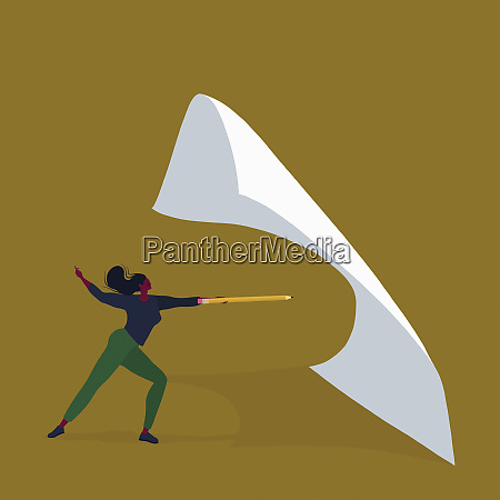 woman fencing piece of paper with