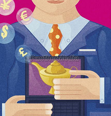 money symbols emerging from magic lamp