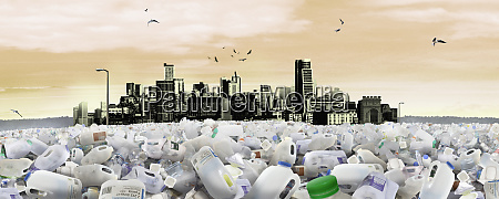 cityscape drowning in plastic waste
